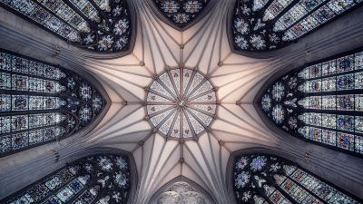 York Minster, United Kingdom, Cathedral, Church, Ancient architecture, Interior, Look up, Symmetrical, Patterns, Serene, 5K, 8K