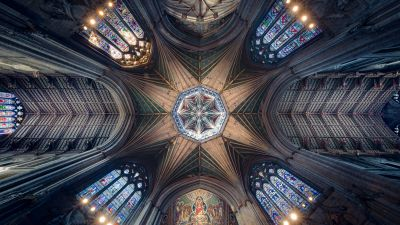 Ely Cathedral, Ancient architecture, Cathedral, Dome, Stained glass, United Kingdom, Indoor, Ceiling, Lights, Patterns, 5K, 8K