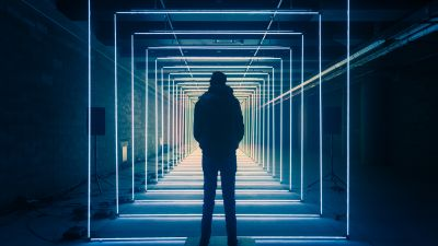 Vanishing point, Blue Lights, Person, Geometric, Shape, Patterns, Symmetrical, Indoor, 5K, 8K