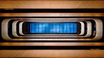 Bush Pavilion Hotel, London, Atrium, Symmetrical, Looking up at Sky, Blue, Skylight, 5K, 8K