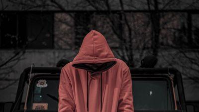 Red Hoodie, Jeep, Standing, Men, Style, Sweatshirt, 5K