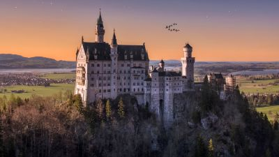 Neuschwanstein Castle, Germany, Landscape, Starry sky, Ancient architecture, Astronomy, Stars, Outer space, 5K