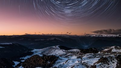 Dolomites, Italy, Mountain range, Snow covered, Mountains, Outer space, Galaxy, Astronomy, Star Trails, 5K