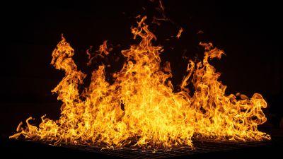 Bonfire, Black, Dark background, Flames, Night, Orange, 5K