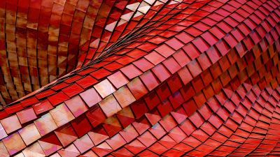 Red Roof, Tiles, Modern architecture, Pattern, Texture, Shapes, 3D, 5K, 8K
