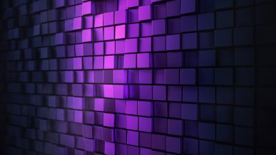 3D background, Squares, Purple light, Metal