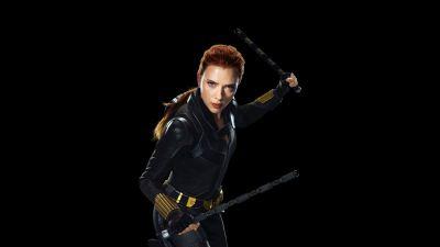 Black Widow, Scarlett Johansson, Black background, 2020 Movies, 5K