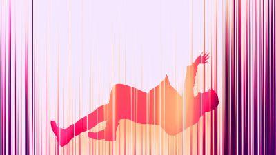 Falling, Dream, Neon, Pink, Blur, Artwork, 5K