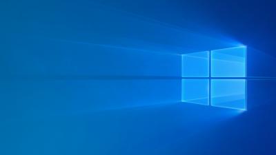 Windows 10, Windows logo, Glossy, Blue background