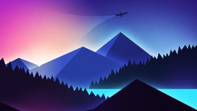 Mountains, Illustration, Flight, Night, Sunset, Gradient background