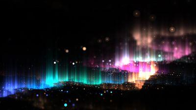 Glitter, Glowing, Colorful, Lights, Dark, Black background, 5K