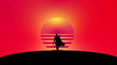 The Mandalorian, Artwork, Silhouette, Minimal, Orange background