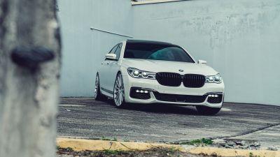 BMW 7 Series, White cars, 5K