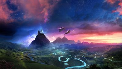 Dream, Flying together, Mountains, Evening, Dusk, Boy and Girl, Neverland, Magical