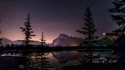 Mount Rundle, Nightscape, Banff National Park, Reflection, Starry sky, 5K