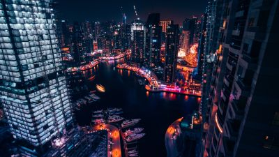 Dubai Marina, United Arab Emirates, Boats, Cityscape, Modern architecture, Night time, City lights, Aerial view, 5K