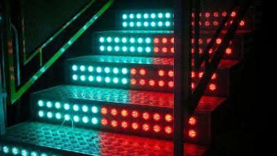 Staircase, LED lights, Steps, Blue, Red, 5K