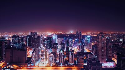 Dubai City, United Arab Emirates, City Skyline, Cityscape, Night time, City lights, Skyscrapers, Modern architecture, 5K
