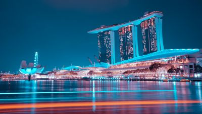 Marina Bay Sands, Hotel, Singapore, Blue hour, Night lights, Waterfront, Reflection, Modern architecture, Blue Sky, 5K