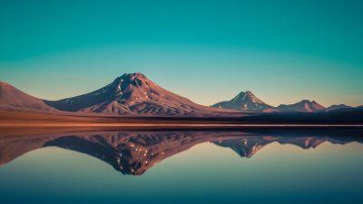 Laguna Lejia, Salt Lake, Chile, Mountains, Blue Sky, Reflection, Body of Water, Mountain range, Volcano, Lejía Lake, Landscape, Sunset, 5K