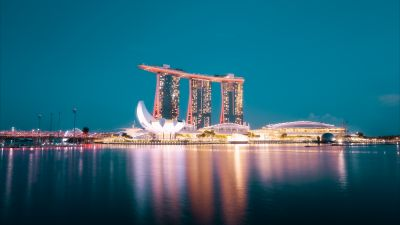 Marina Bay Sands, Hotel, Singapore, Blue hour, Night life, City lights, Body of Water, Reflection, Modern architecture, Cityscape, Blue Sky, 5K