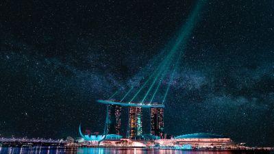 Marina Bay Sands, Hotel, Singapore, Stars, Night life, City lights, Body of Water, Reflection, Light beam, Modern architecture, Laser Lights, Astronomy, Cityscape, 5K