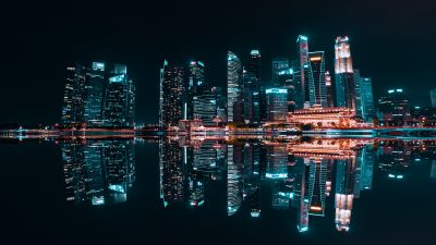Singapore City, Skyscrapers, Modern architecture, Night life, City lights, Reflection, Symmetrical, Buildings, Body of Water, 5K