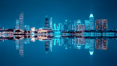 City Skyline, Singapore, Blue hour, Night life, Cityscape, Reflection, Symmetrical, Body of Water, Skyscrapers, Blue Sky, City lights, Modern architecture, 5K