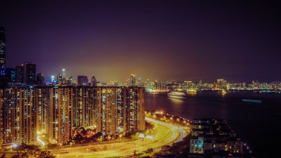 Quarry Bay Park, Hong Kong City, Cityscape, Night time, City lights, Highway, Buildings, Skyscrapers, Sea, Purple sky, Body of Water
