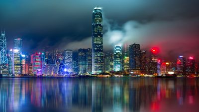 Hong Kong City, Skyline, Body of Water, Reflection, Skyscrapers, Modern architecture, Cityscape, Night lights, Scenic, 5K, 8K