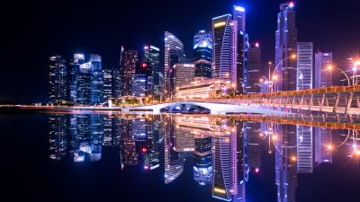 City Skyline, Singapore, Skyscrapers, Modern architecture, Body of Water, Reflection, Symmetrical, Cityscape, Nighttime, City lights, Beautiful, 5K
