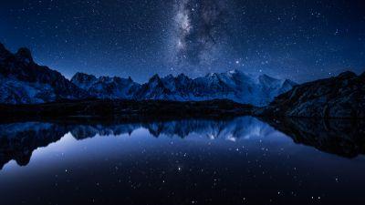 Milky Way, Starry sky, Night, Mountains, Lake, Reflection, Cold, 5K