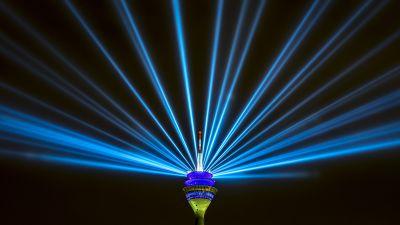 Rhine Tower, Rheinturm, Düsseldorf, Germany, Television Tower, Light beam, Laser Lights, Blue light, Black background, Night life