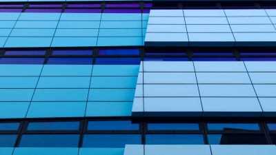 Rijn Tower, Arnhem, Netherlands, Gelderland, Glass building, Pattern, Blue, Abstract Lines, 5K