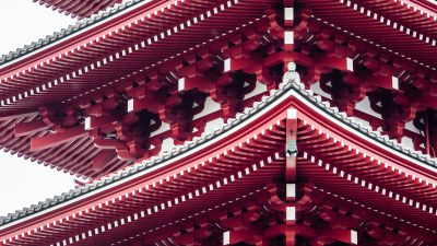 Pagoda, Tokyo, Japan, Ancient architecture, Buddhism, Red