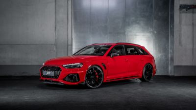 Audi RS 4 Avant, ABT, 2021, Dark background, Red cars