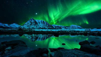 Aurora Borealis, Northern Lights, Night, Mountains, Cold, Lake, Reflection, Starry sky, 5K