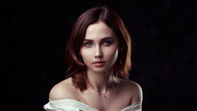 Beautiful girl, Beautiful woman, Portrait, Black background