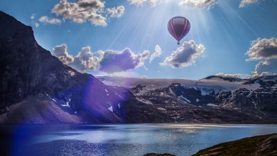 Hot air balloon, Mountains, Lake, Sunrays, Sun light, Clouds, Landscape, Norway, 5K