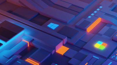 Windows logo, Glowing, Windows 10X, Illuminated, Microsoft, 5K
