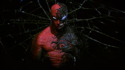 Spider-Man, Venom, Black background, Marvel Superheroes, Marvel Comics