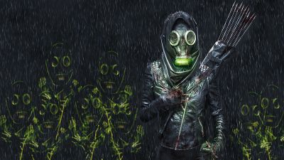 Hunter, Gas mask, Extinction, Arrows, Survivor, Dark, 5K
