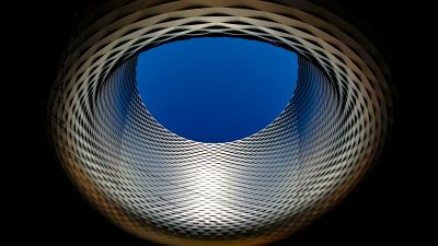 Basel exhibition center, Modern architecture, Sky view, Dark background, Landmark, Switzerland, 5K