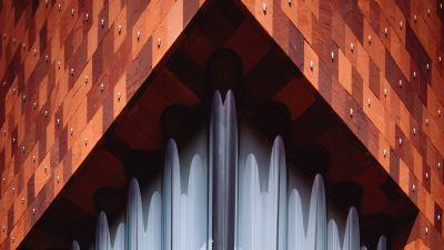 Museum aan de Stroom, Antwerp, Belgium, Contemporary architecture, Pattern, Symmetrical, 5K