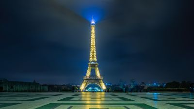 Eiffel Tower, Paris, France, Night time, Iconic, Metal structure, Blue Light, 5K, 8K