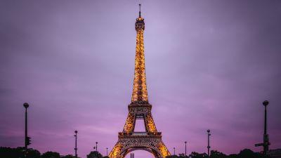 Eiffel Tower, Paris, France, Evening, Purple sky, Lights, Iconic, Aesthetic