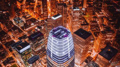 Tallest Skyscraper, San Francisco, Aerial view, Cityscape, Orange Lights, Night time, 5K, 8K