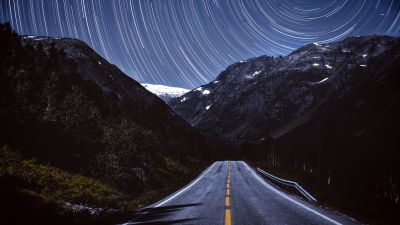 Mountains, Star Trails, Road, Tarmac, Night, Timelapse, Dark, 5K