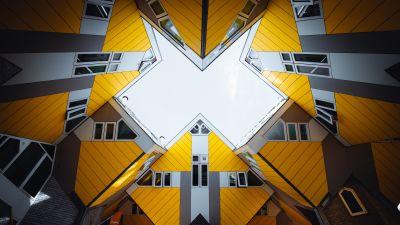 Cube houses, Rotterdam, Netherlands, Yellow, Grey, Geometrical, Symmetry, Skylight, Pattern, 5K