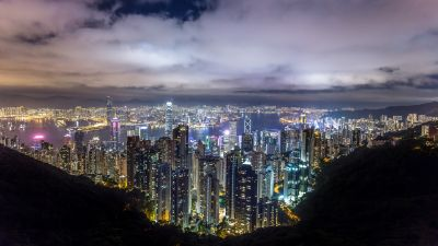 Hong Kong City, Skyline, River, Night time, Skyscrapers, Clouds, Cityscape, 5K